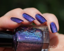 """Nail polish - """"Crestfallen"""" Purple linear holographic polish with pink shimmer"""