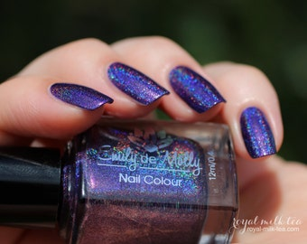 "Nail polish - ""Crestfallen"" Purple linear holographic polish with pink shimmer"