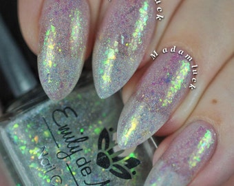 "Nail polish - ""Fancy Sauce"" iridescent flakes and holo flakies in a clear base"