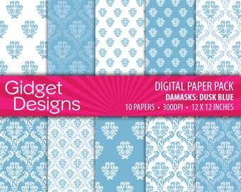 Blue Digital Paper Pack Red Damask Patterns Pink and Orange Scrapbook Paper Printable Paper