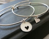 Mothers day gift, mother daughter bangle set, sterling silver mother and daughter heart bracelet, gift for mom, wife from daughter