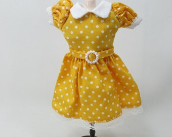 Blythe Outfit Handcrafted polka dots dress basaak doll # 900-2