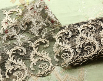 """1 yard Antique cotton lace intricate tambour tulle 3.5"""" wide dainty airy ecru black piece flapper lingerie tambour french trim"""