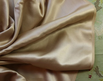 French Vintage 1920s rayon heavy satin lush fabric deep creamy tan france corset wedding  lingerie bra bralette material coutil underdress