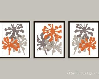 Flower Buds Art Prints - Set of 3 prints - Pumpkin Orange and Taupe Brown - Modern Botanical Wall Art - Fall Decor - Autumn Flowers Art