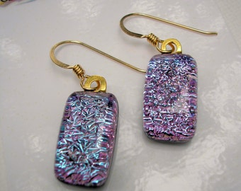 Dichroic Earrings Sparkling Lilac Pink Shifting Colors 14K Gold Earwires Fused Glass Jewelry Purple Dangle Drop Glass Fireworks ArtGlass CSM
