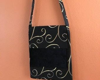 Mary1308E Upholstery Fabric Purse, Cross Body Bag, Cross Body Purse, Purses, Shoulder Bag, Shoulder Bags, Handbag, Handbags, Black Purse,Bag