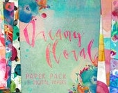 Dreamy Floral Watercolor Digital Paper Pack Patterns - 16 digital painted backgrounds