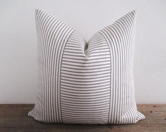 Pillow Cover Grey Ticking Vertical & Horizontal Stripes Zipper