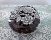 Vintage Pewter Roses and Glass Potpourri Container - Trinket or Keepsake Box - Potpourri  Holder - Bed or Bath - Glass and Pewter Rose Jar