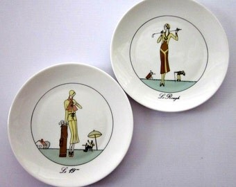 "Vintage 2 Jacques Lobjoy, D'Auteuil Porcelain Plates,"" La Rough"" and "" Le 19eme"" , Made in Paris, France - Collectable - 2 Cocktail Plates"