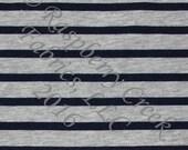 Navy Blue and Grey Heathered Stripe 4 Way Stretch Jersey Knit Fabric, Club Fabrics