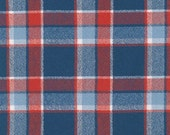 Blue Red and White Americana Robert Kaufman Mammoth Plaid Flannel, 1 Yard