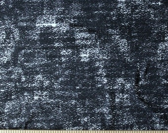 Black and White Weathered Marbled Look Brushed Poly Spandex Knit, 1 Yard
