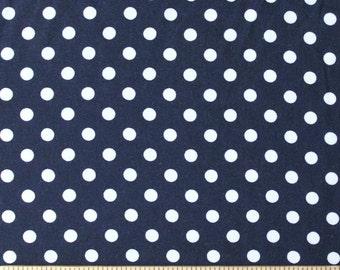 Navy Blue and White Polka Dot Rayon Challis, 1 yard