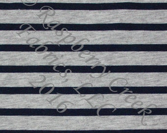 Navy Blue and Grey Heathered Stripe 4 Way Stretch Jersey Knit Fabric, Club Fabrics