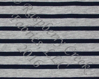 Navy Blue and Grey Heathered Stripe 4 Way Stretch Jersey Knit Fabric, Club Fabrics PRE-ORDER