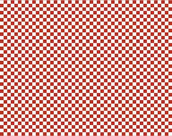 Red and White Checkered Traffic Flag Flannel by Riley Blake Designers, 1 Yard