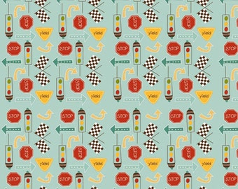 Aqua Red and Yellow Traffic Sign Flannel by Riley Blake Designers, 1 Yard