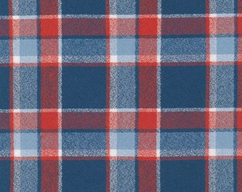 Blue Red and White Americana Robert Kaufman Mammoth Plaid Flannel, 1 Yard