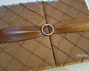 Box Only - Luxurious Gatefold Pintuck Silk Box for Weddings