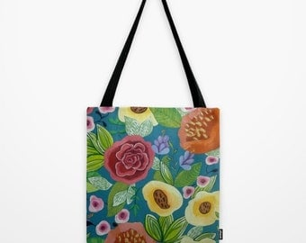Floral Design Garden Tote Bag Abstract Artwork Printed on Tote Bag Unique Tote Bag Colorful Tote Nature