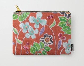 Flower Zipper Pouch Rust and Blue Carry All