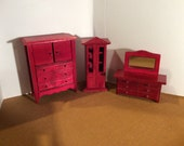 Vintage wood dollhouse furniture