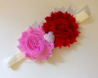 Simple ivory heart Valentines Day, girls headband, baby headband, girls accessories, headband, hairbow, toddler accessories, photo prop