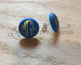 Monogram earrings, earrings, personalized, custom, handmade, jewelry, post earrings, stud earrings, nickel free, vinyl, vinyl decal