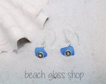 Lake Erie Beach Glass Earrings - Cornflower Blue Beach Glass - Pierced Earrings - FREE Shipping inside the United States