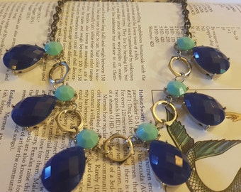Blue Beads and Hex Nuts Statement Necklace
