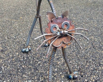 Cat Recycled Garden Art