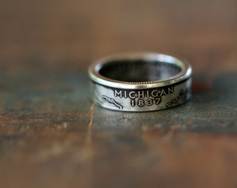 Handmade Silver Michigan State Coin Ring, Custom Sizing 4-13