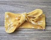 Knit Bow Headband in mustard field study -- Baby, Child and Adult available