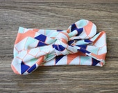 Knit Bow Headband in navy and coral geo -- Baby, Child and Adult available