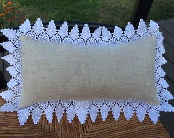 Linen and Lace Pillow, Linen Lumbar Pillow, Taupe and White Pillow, Old Fashioned Pillow, Lace and Linen