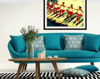 Beach Art, Mid Century Modern Art, Retro Water Skiers, Beach House Art, Mid Century Wall Art, Vintage Ski, Beach Art Gifts for Her, Mom Gift