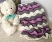 Baby girls crochet blanket, hand knotted blanket for baby girls, newborn blanket READY TO SHIP