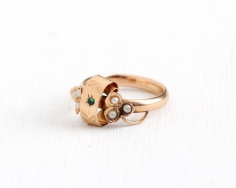 Antique 18k Rose Gold Simulated Emerald Three Leaf Clover Flower Ring - Vintage Size 6 Late 1800s Victorian Edwardian Shamrock Fine Jewelry