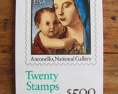 Season's Greetings 20 UNused Vintage US Postage Stamps Booklet 25c Christmas Madonna and Child Antonello Virgin Mary Jesus Save the Date