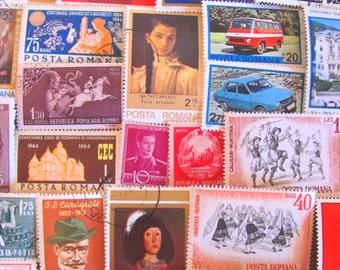 Bucharest or Bust 50 Vintage Romanian Postage Stamps Romania Posta Romana Eastern European Folk Art Midcentury Scrapbook Worldwide Philately