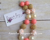 READY TO SHIP Coral, Cream, Gold, and Peach Bubblegum Chunky Necklace, Photo Prop, Smash Cake Necklace, First Birthday Necklace