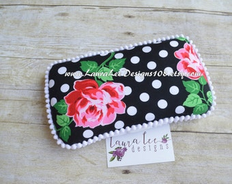 Pink Rose Flowers and White Polka Dots on Black, Travel Wipe Case, Baby Wipe Case, Baby Shower Gift, Diaper Wipe Case, Pink Roses Wipe Case,
