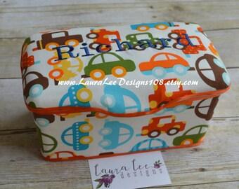 Cars on Cream Nursery Baby Wipe Case, Personalized, Monogram, Orange Diaper Wipes Case, Baby Shower Gift, Wipecase, Large Wipes Tub