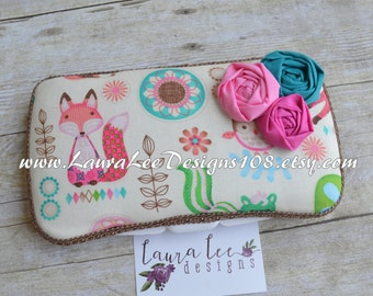 Girly Woodland Animals Boutique Style Travel Wipe Case, Personalized Wipe Case, Diaper Wipes Case, Animal Wipe Case, Forest Animals Case