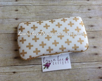 Metallic Gold Remix Crosses Travel Baby Wipe Case, Baby Shower Gift, Monogram Wipe Holder, Plus Signs Wipe Clutch, Personalized Wipecase