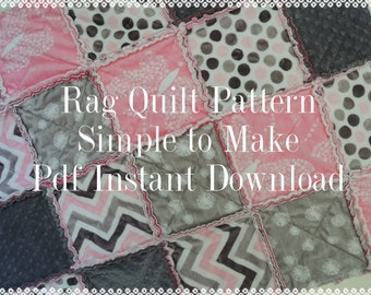 Rag Quilt Pattern Tutorial, Easy with Photos, pdf file