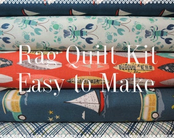 Offshore, Kit 2,  Rag Quilt Kit, Easy to Make, Offshore Fabrics, Personalized