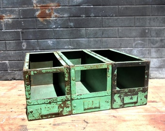 Vintage Industrial Metal Bins with Label Holders / Set of 3 Bins / Distressed Painted Metal Bins / Factory Bins / Beautiful Green Bins